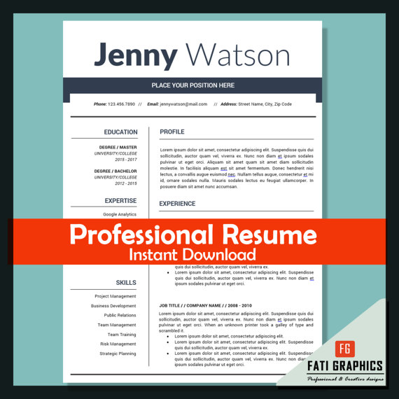 professional marketing resume