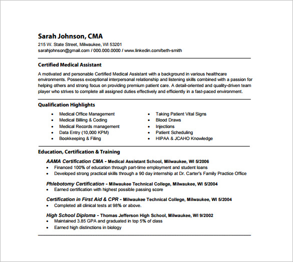 registered medical assistant resume - Sample Medical Assistant Resume