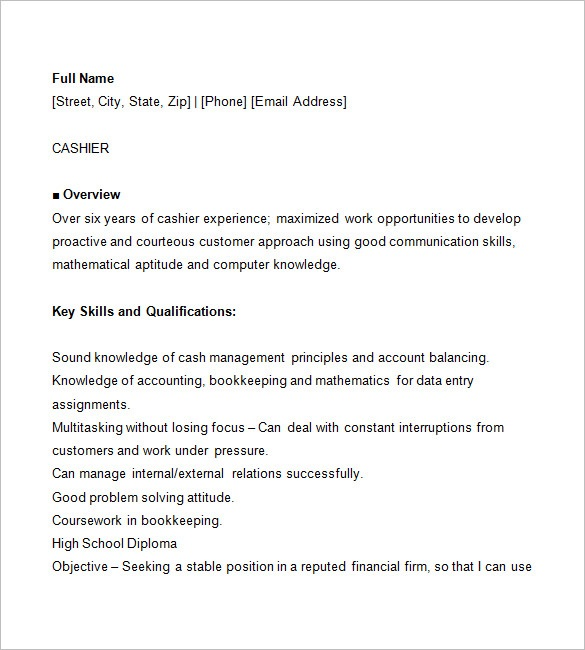 resume for cashier job