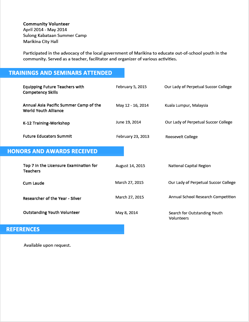 resume for fresh graduate tourism