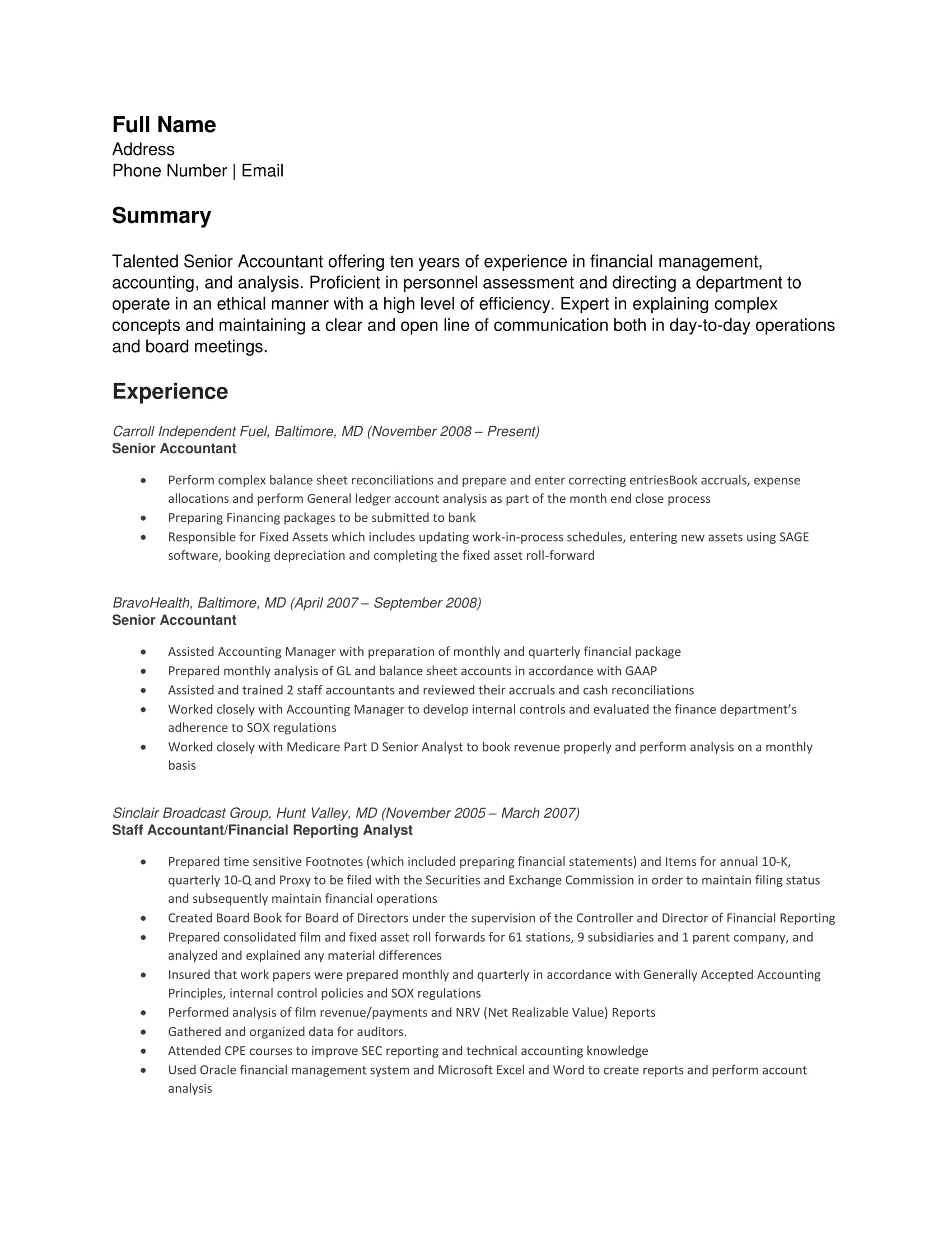 Senior Accountant Resume Example:  Senior Accountant Resume