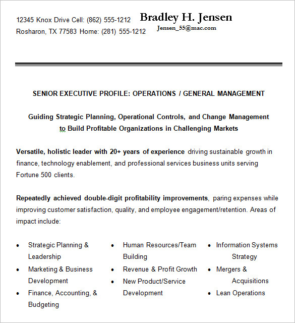 Senior Executive Resume Format