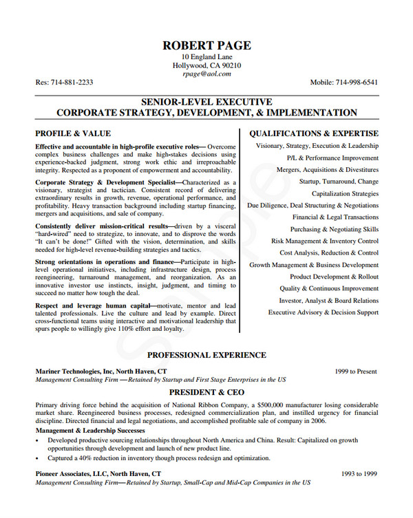 senior level executive resume samples