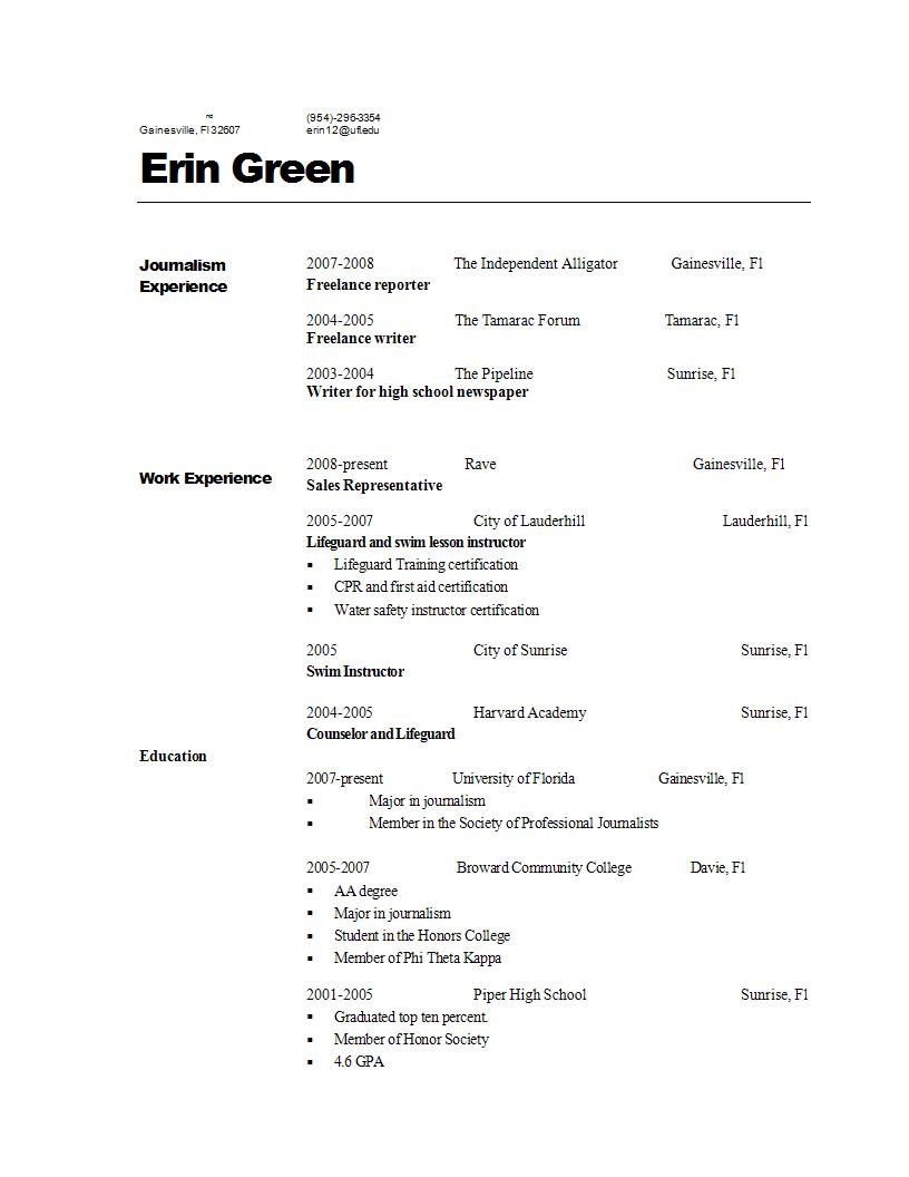 swim coach resume
