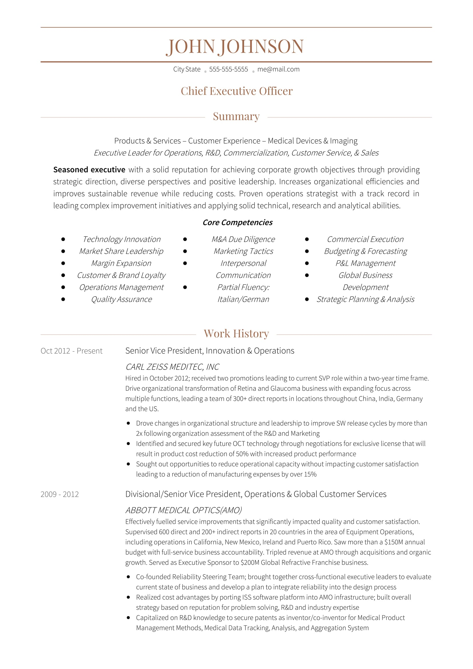 sample resumes ceo resume executive award winning ceo resume templates