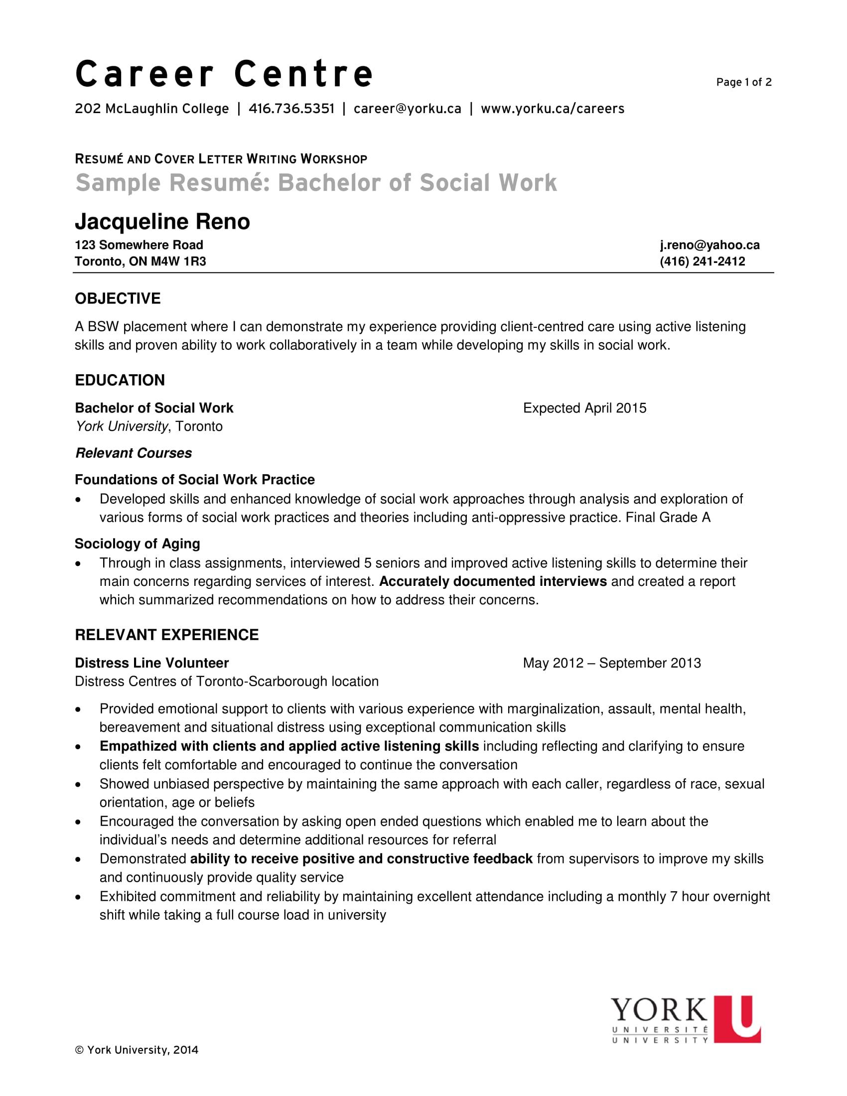 Social work sample resume