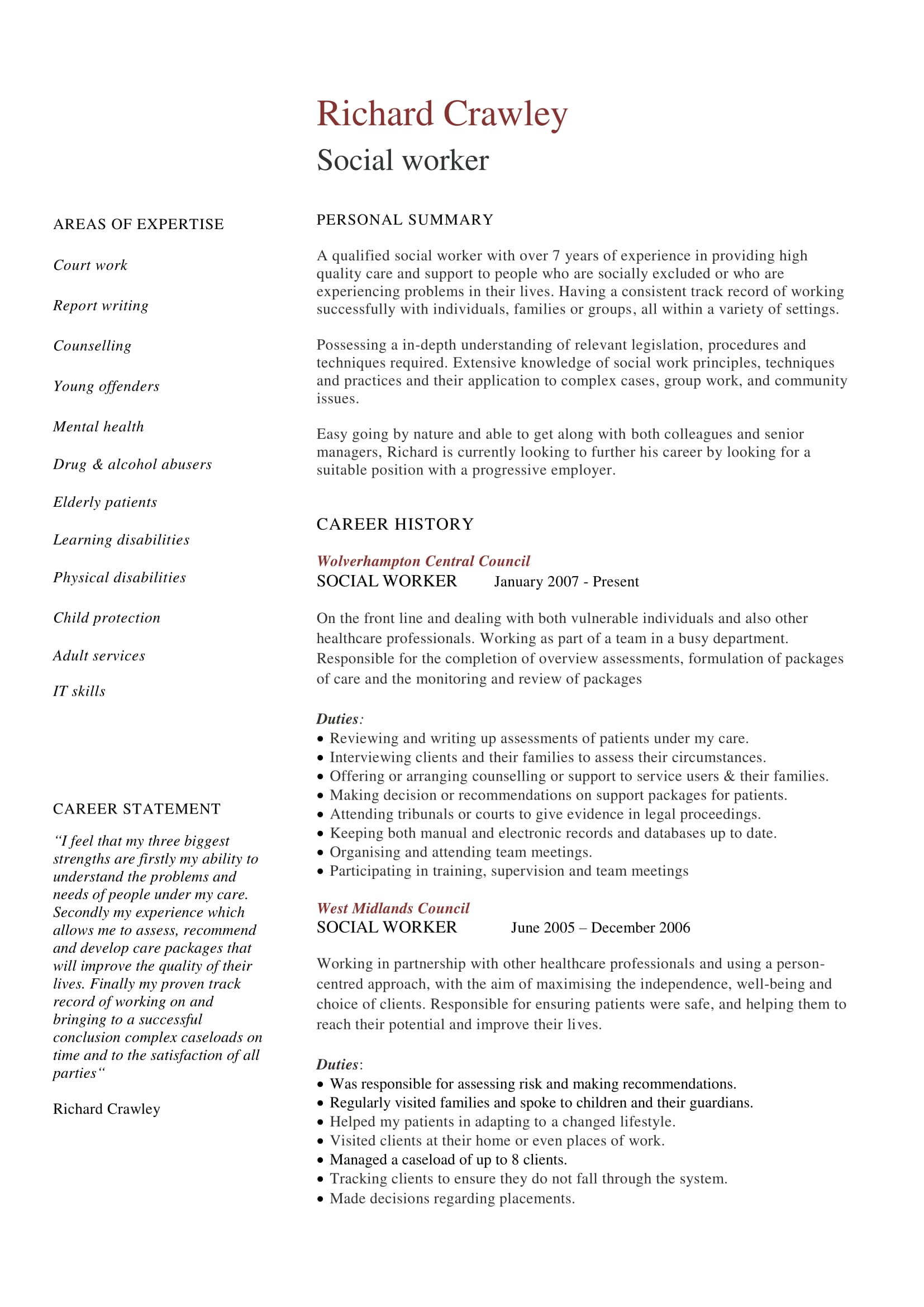 social worker cv sample - Social Worker Resume Sample